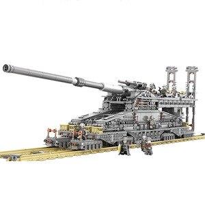 Kazi 10005 3846 Uds arma de tren bloques de construcción alemán 80cm K[e] arma de vía férrea