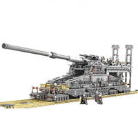 Kazi 10005 3846pcs Train Gun Building Blocks German 80cm K[e] Railway Gun dora Military Series Model Kits Toys For Children