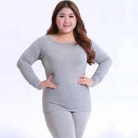 autumn warm Long Sleeve Women Plus Size Thermal Long Johns fashion bottoming Long Johns Solid slim Thermal Underwear 3XL 4XL 5XL