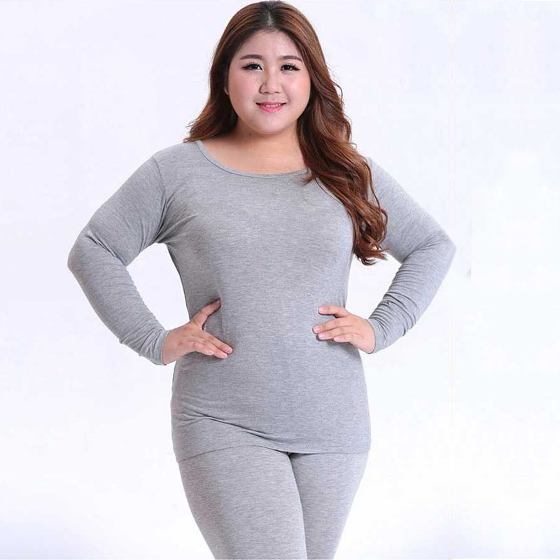 Autumn Warm Long Sleeve Women Plus Size Thermal Long Johns Fashion Bottoming Long Johns Solid Slim Thermal Underwear 3XL 4XL 5XL