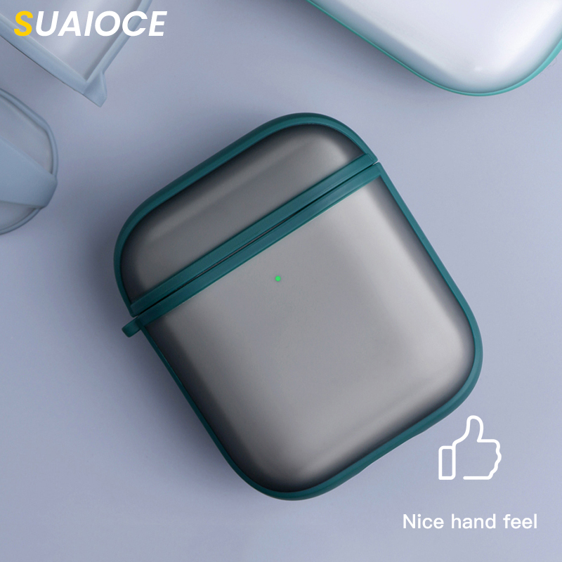 SUAIOCE Earphone Case For Airpods 1 2 Matte Surface Protective Headphone Case For Airpods Shockproof Cover Bluetooth Wireless