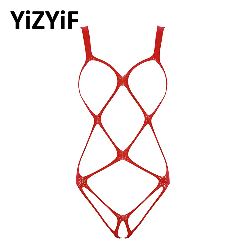 Sexy Lingerie Womens Bodysuit Mankini One-piece Erotic Hollow Out Fishnet Bodystockings See-through Stretchy Bodysuits Nightwear