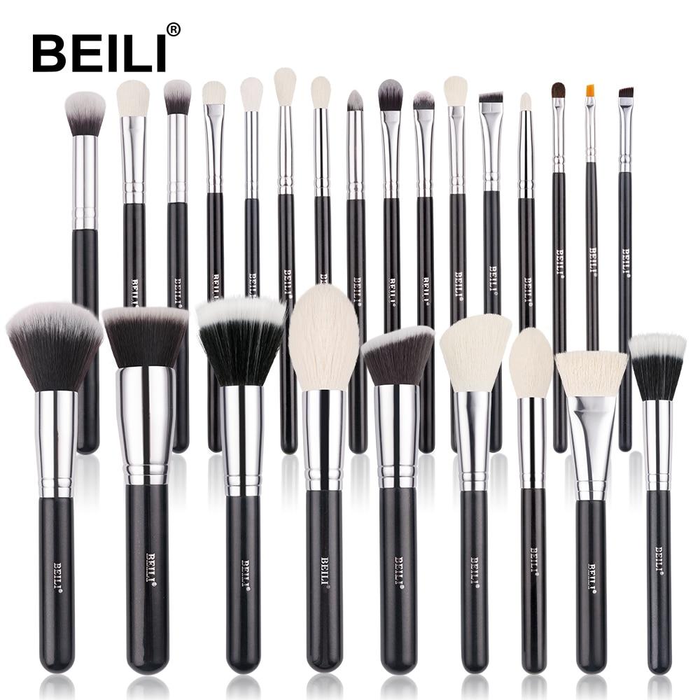 BEILI Black Goat hair Professional Makeup Brushes set Foundation Concealer Eyeshadow Blending Cosmetic Brush pinceaux maquillage|makeup brush set|brush setbrushes makeup set - AliExpress