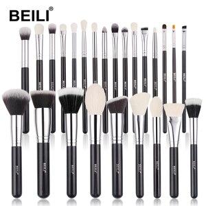Image 1 - Beili Zwart Geitenhaar Professionele Make Up Kwasten Set Foundation Concealer Oogschaduw Blending Cosmetische Borstel Pinceaux Maquillage