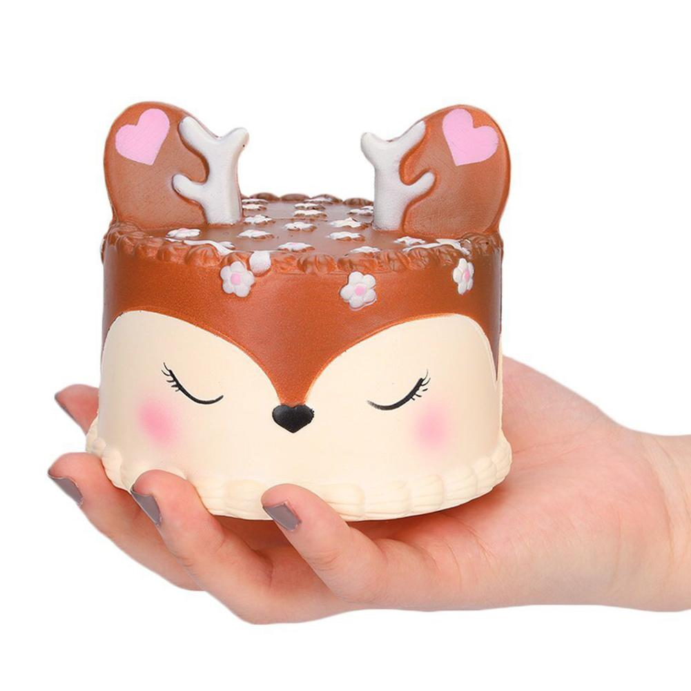 None Cartoon Deer Cake Slow Rising Toys Creative Squishy Vent Toys Kid Toy Gift