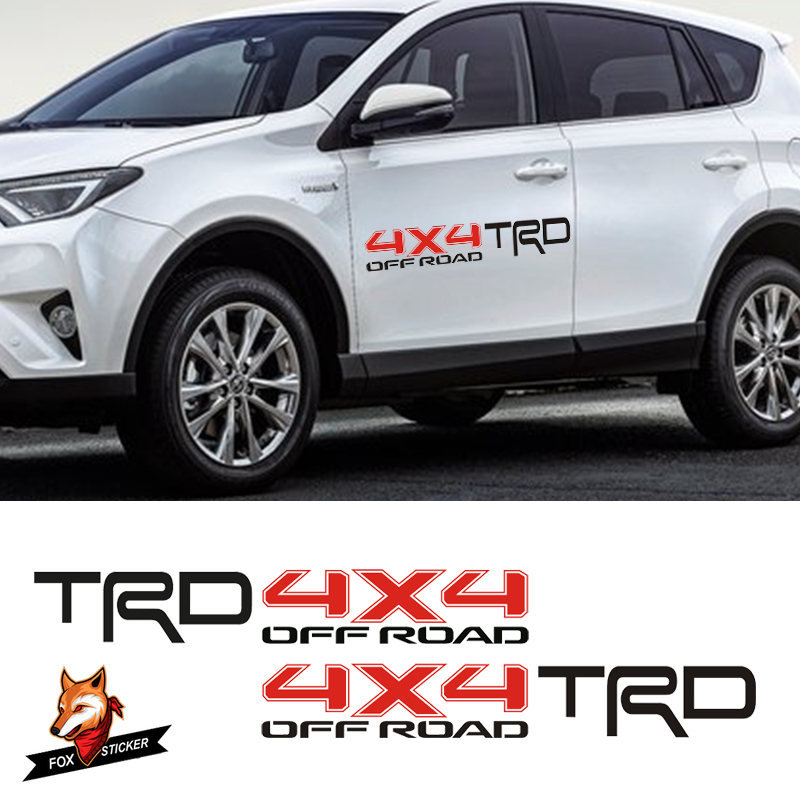 Car Styling <font><b>Off</b></font> <font><b>Road</b></font> TRD <font><b>4X4</b></font> Car Door <font><b>Sticker</b></font> Decals Vehicle Wraps Car <font><b>Sticker</b></font> for Toyota RAV4 Avalon Aygo Land Cruiser image