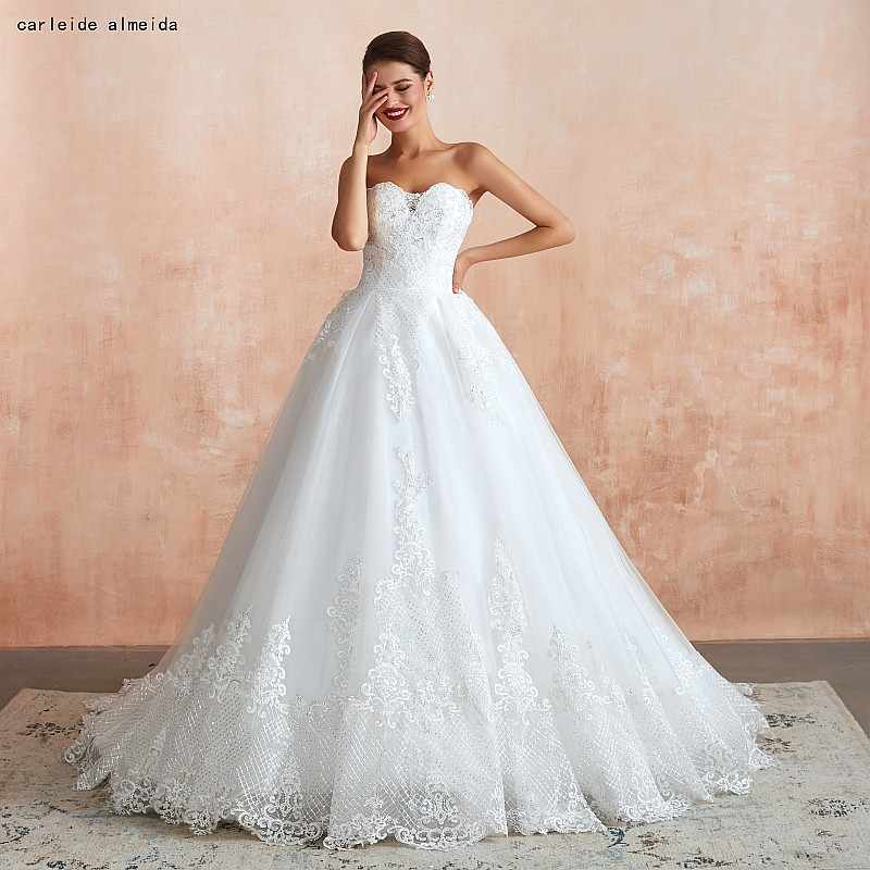 Strapless vestido de Baile Vestidos de Casamento Do Vintage com Lace Shinning Apliques 45cm Cauda de Luxo Vestidos de Noiva 2019 Vestido de Noiva