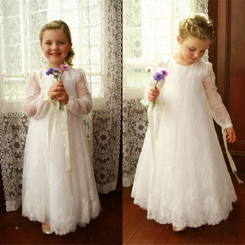 Lace Long Flower Girl Dress For Wedding Brithday Party Ivory White Fist Communion Dress Long Sleeve Poet Chilrens Wear