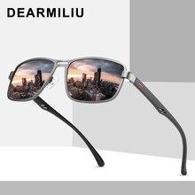 Мужские солнцезащитные очки DEARMILIU, поляризационные Квадратные Солнцезащитные очки с металлической оправой, для вождения, рыбалки, zonnebril heren, 2020