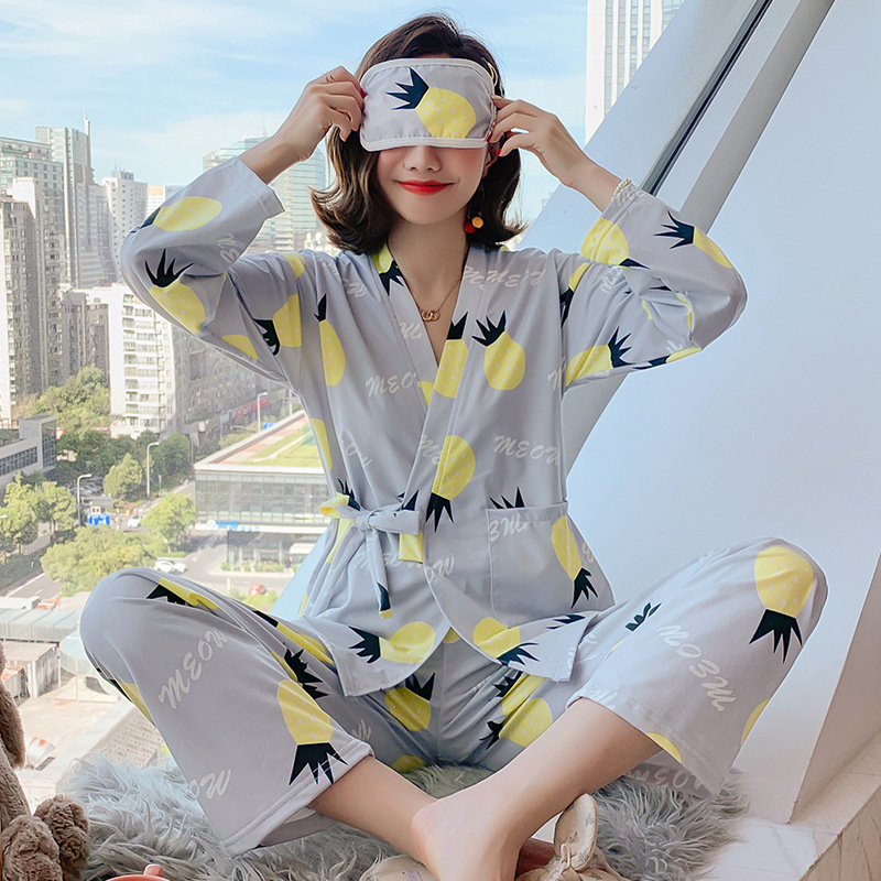 (Send Eye Patch) 2019 Spring And Autumn New Style Long Sleeve Kimono Women Pajamas Knitted Cotton Ladies Home Leisure Suit