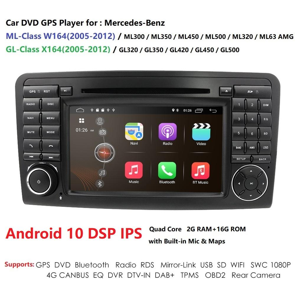 Android10 7 CarDVD radio GPS Navigation for Mercedes Benz ML W164 ML300 350 450 320 ML63 AMG GL X164 GL 320 350 420 450 500 RDS image