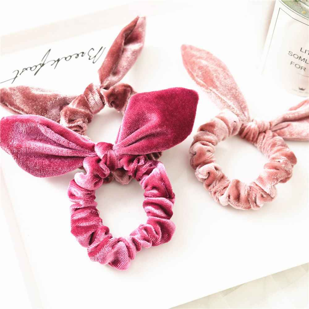 Женская бархатная резинка для волос для девочек фланелевая повязка на голову с заячьими ушками мягкие эластичные волосы резинки аксессуары дропшиппинг