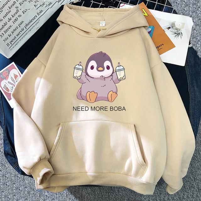 Cute Penguin Boba Tea Hooded Sweatshirt Harajuku Hoodies Lovely Kawaii Casual Hoody O-Neck Women's Hoodie 3