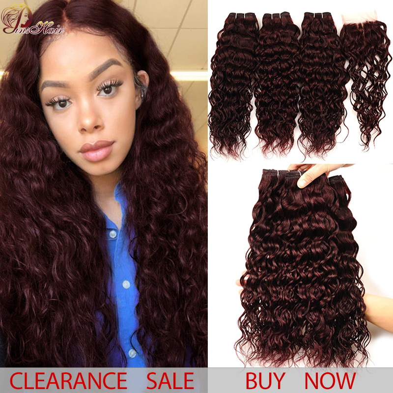 Brazilian Hair Weave 3 Bundles With Closure Burgundy Water Wave Bundles With Closure Red 99J Pinshair Thick Human Hair Non Remy
