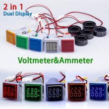 22mm AC 60-500V 0-100A quadrato LED digitale doppio Display amperometro voltmetro misuratore di tensione misuratore di corrente moduli Led indicatore luminoso