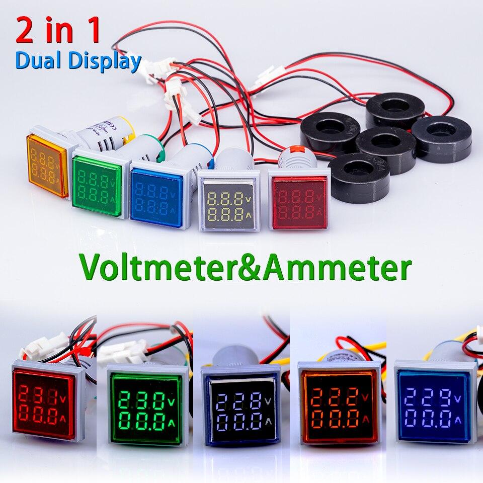 AC 60-500 В 0-100A квадратный 22 мм светодиодный цифровой двойной дисплей амперметр вольтметр измеритель величины напряжения измеритель тока свет...