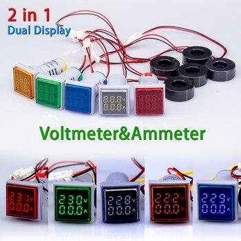 AC 60-500V 0-100A Square 22mm LED Digital Dual Display Ammeter Voltmeter Voltage Gauge Current Meter led Modules Indicator light multimeter ammeter voltmeter wattmeter ac 80 260v 0 100a lcd digital display current voltage power energy meter