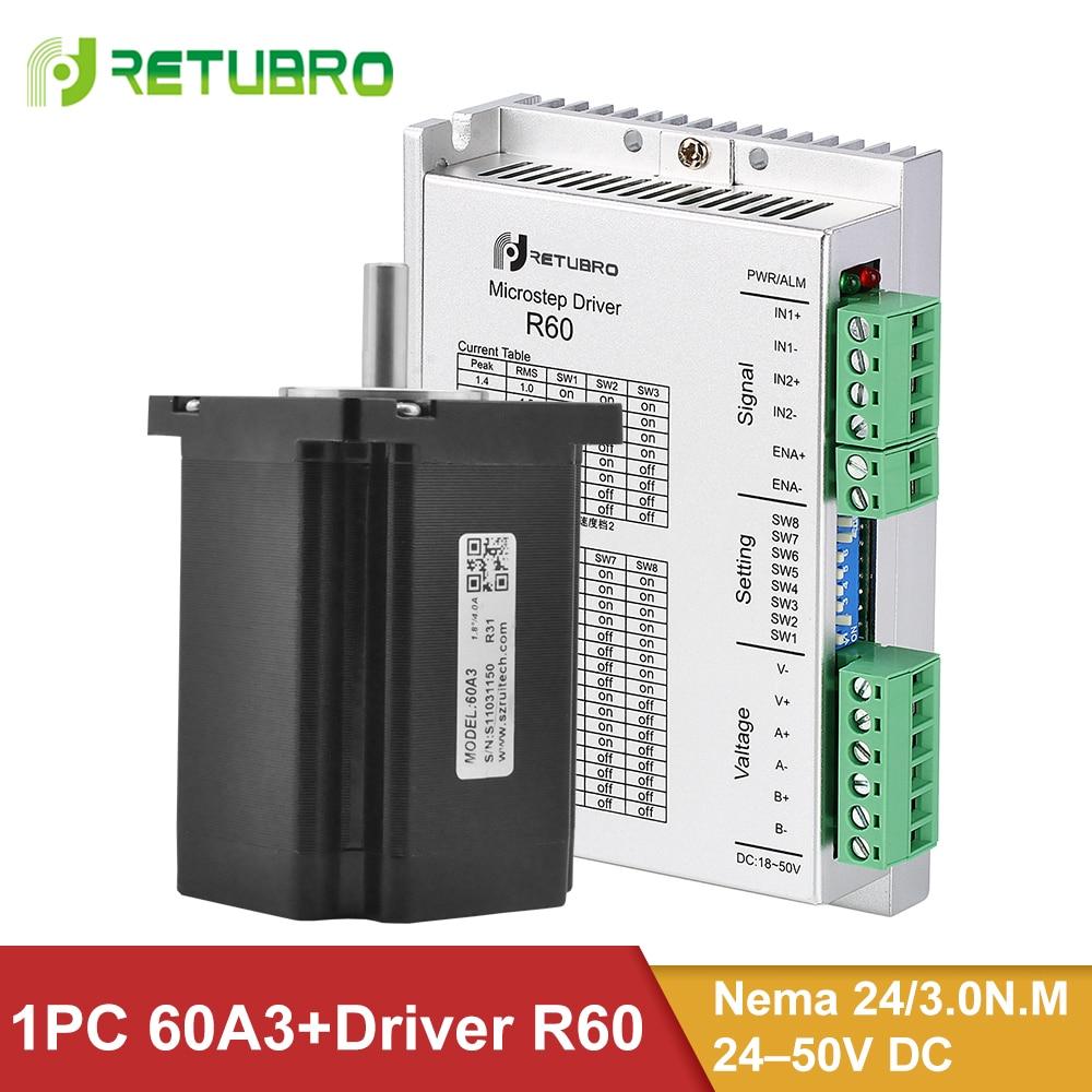Комплект шагового двигателя R60 + 60A3, 1 комплект, Nema 23 24 Hybrid 3 нм, 4 провода 60*60*86 мм, 8 мм, вал 24-50 в, постоянный ток, напряжение для станка с ЧПУ
