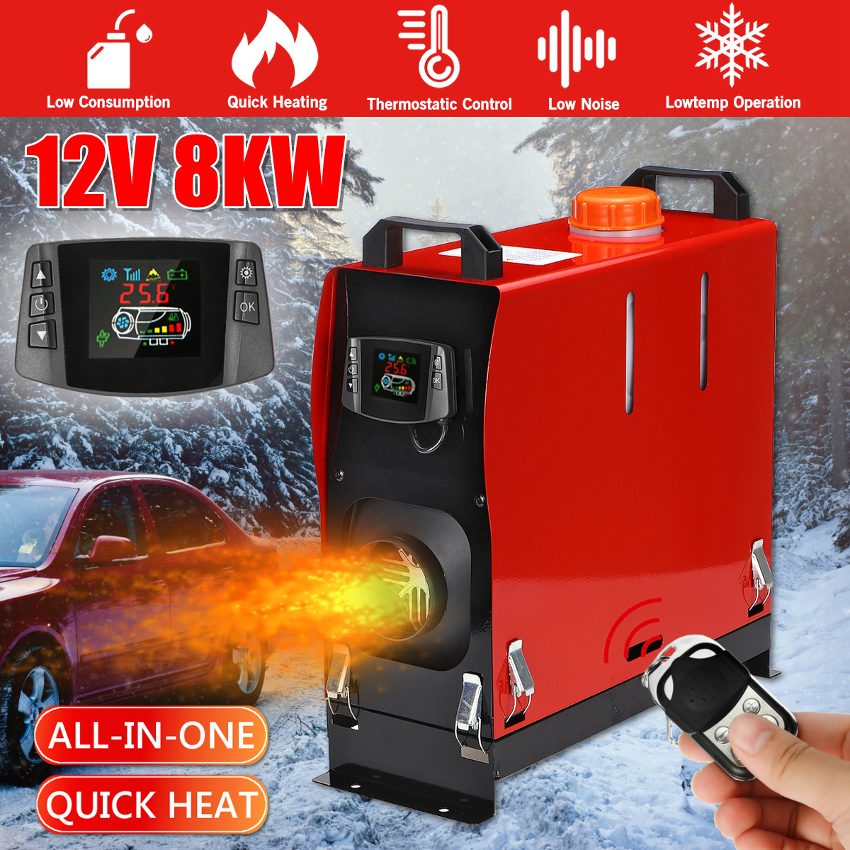 Hcalory Car Heater All In One 8kW Air diesels Heater Red 8KW 12V One Hole Car Heater for webasto Trucks Motor+LCD key Switch
