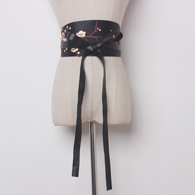 2020 Spring Stylish Corset Belt Female Sexy Plum Embroidery Fashion Belts For Women Wide Belt Corset Belt New Design Tide ZK477