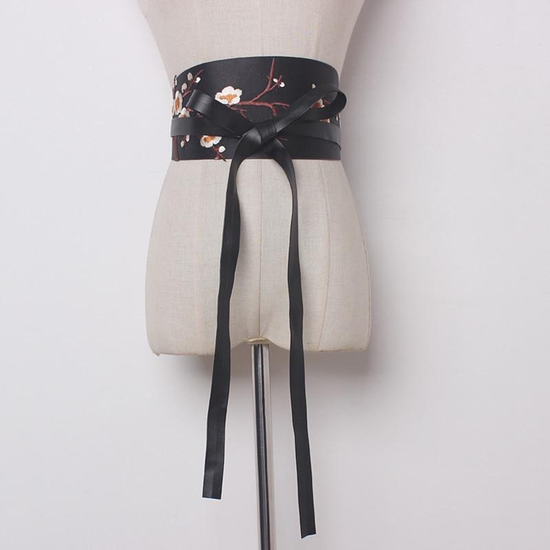2020 Spring Stylish Corset Belt Female Sexy Plum Embroidery Fashion Belts For Women Wide Belt Corset Belt New Design Tide ZK477