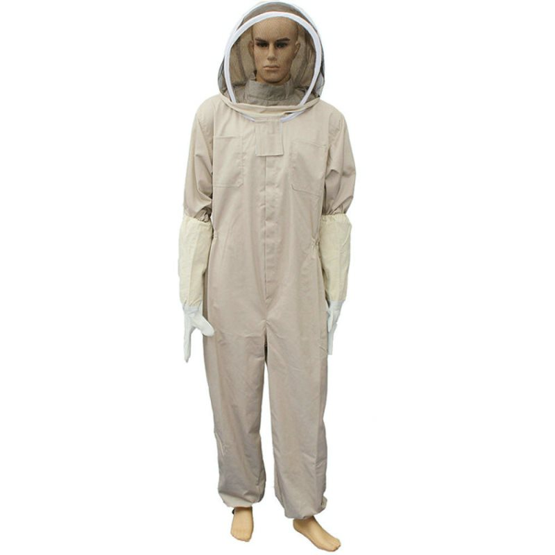 1Set Professional Ventilated Full Body Beekeeping Bee Keeping Elastic Band Suit With Leather Gloves Coffee Color