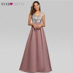 Image 4 - Сексуальное атласное платье для выпускного вечера Ever Pretty EZ07638 ТРАПЕЦИЕВИДНОЕ ПЛАТЬЕ С глубоким v образным вырезом и блестками без рукавов, блестящие вечерние платья Vestido De Gala