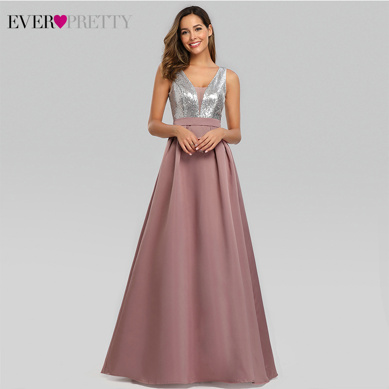 Sexy Satin Prom Dresses Ever Pretty EZ07638 A Line Deep V Neck Sequined Sleeveless Sparkle Evening