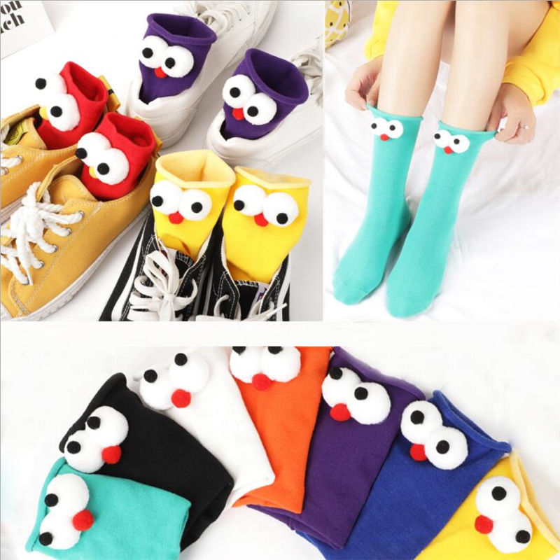 1 Pair Of Socks Female Stereo Big Eyes Trend Cotton Breathable Personality Cartoon Funny Female Pile Of Socks