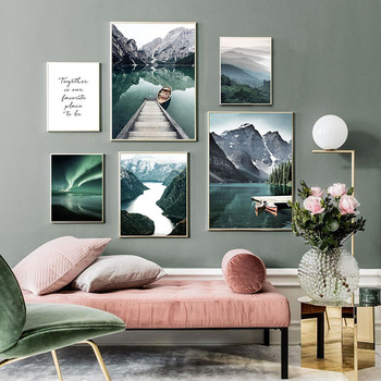 Scandinavian Travel Landscape Canvas Painting Mountain Boat Grass Nordic Poster Print Wall Art Picture Modern Living Room Decor