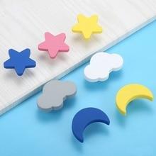 Drawer Pulls Handles Cabinet-Knobs Star Cute Kitchen Children 10pcs Cartoon Moon Rubber