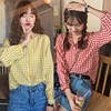 Simple Women Spring Summer Blouse Shirts Plaid Fashionable Single Breasted Casual Loose Wild Sweet Pink Tops 1