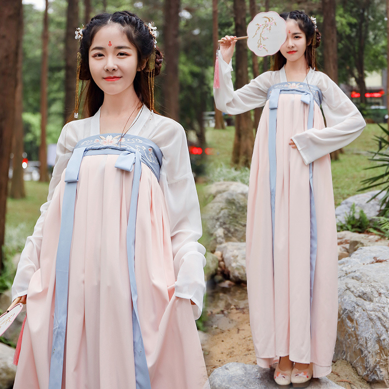 Embroidery Dance Costumes Hanfu Women Folk Fairy Dress Festival Outfit Singers Stage Rave Performance Clothing 2 Pcs DC2721