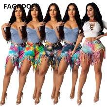 FAGADOER Fashion Tie Dye Jeans Pants Summer Casual Tassels Denim Women Ripped Booty Streetwear Femme Outfits 2021