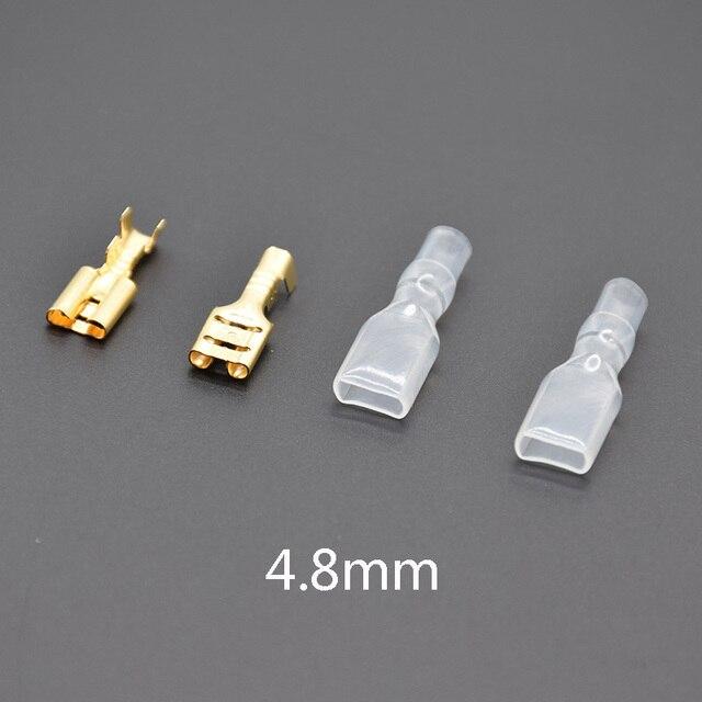 100 sztuk 2.8/4.8mm/6.3mm mężczyzna/kobieta Spade zaciski elektryczne tuleja izolacyjna złącze drutu dla 22-16 AWG 0.5mm2-1.5mm2