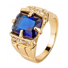 FDLK – bague de mariage pour hommes, Vintage, famille royale, cristal naturel, bleu, couleur or, tailles 7 8 9 10 11 12 13 14