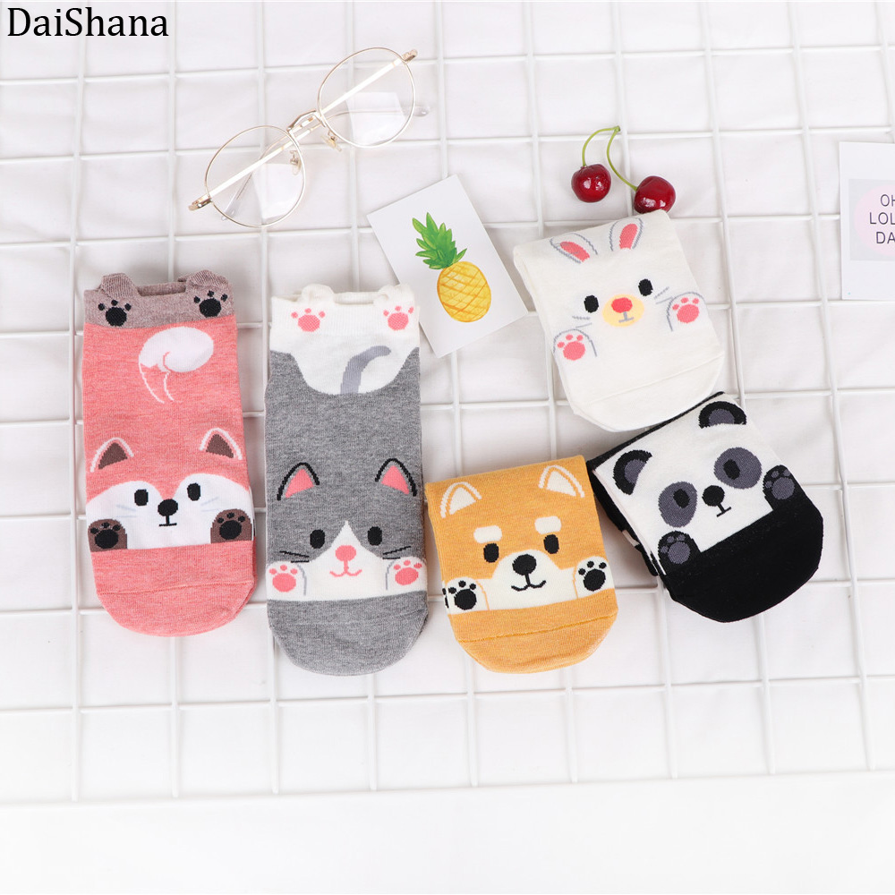 5 Pairs Autumn Winter Cartoon Cotton Fashion Animals Women Socks Rabbit Fox Dog Panda Cute Kawayi Happy Funny Socks Girls Socks.