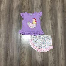 Girlymax verão bebê meninas crianças roupas boutique conjunto lavanda pintainho floral topo rosa xadrez shorts outfits algodão