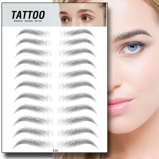 4D Hair-like Eyebrows Waterproof Water Transfer Stickers Makeup Eyebrow Tattoo Sticker Lasting False Eyebrow Patch Stickers