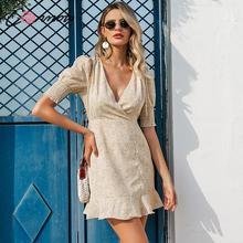 Conmoto Vintage Women Boho Print Short Holiday Dress Summer Fashion V Neck Drawstring High Waist Mini Dress Ladies Party Vestido