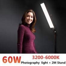 GSKAIWEN Kit de iluminación de estudio de fotografía LED, 60W, Panel de luz de vídeo, luz ajustable con trípode de soporte para sesión de fotos de productos retrato