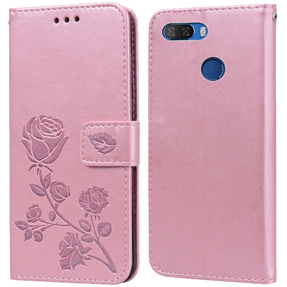 Luxury Leather Flip Book Case for <font><b>Lenovo</b></font> K5 Play <font><b>L38011</b></font> K5 Pro L38041 Rose Flower Wallet Stand Case Phone Cover coque image