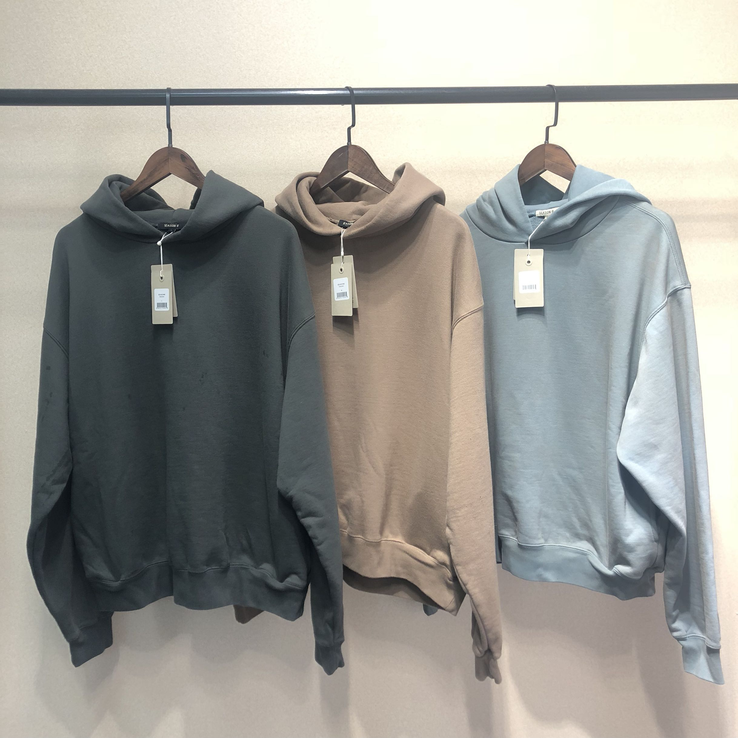 Kanye West Hoodies Men Women Hip Hop Cotton Season 6 Hoodie Solid Color Hair Coil   Sweatshirts Kardashian Pullovers