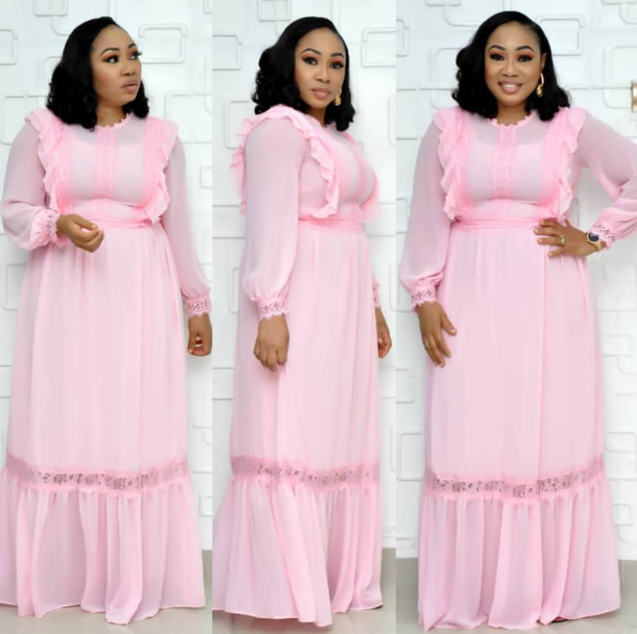 2019 New Arrival Elegent Fashion Style Summer African Women O-neck Plus Size Long Dress