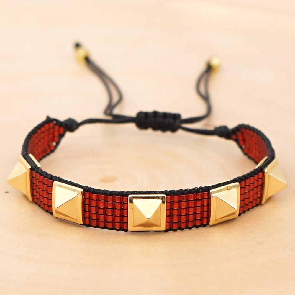 XUXI 2020 Women Fashion Simple Charms Bracelet Punk Style 5 Rivets Japan Rice Beads Hand Made 3 Rows Boho Bracelets SS026