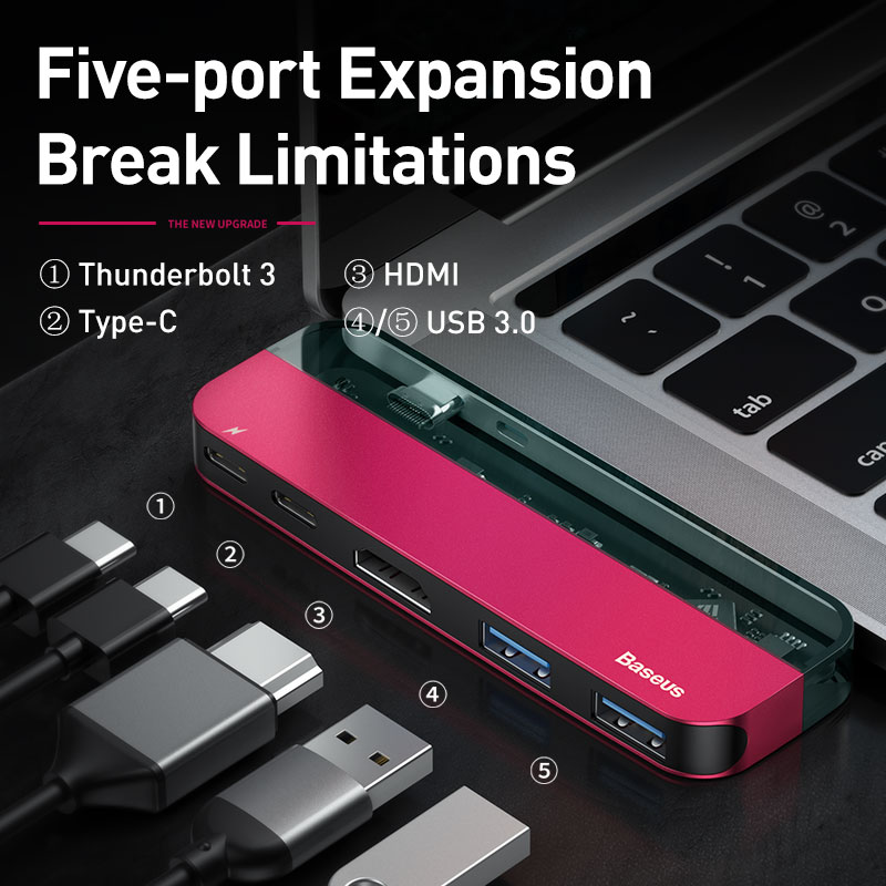 Baseus USB C HUB to Multi HDMI USB 3.0 USB HUB for MacBook Adapter Accessories Pro Thunderbolt 3 SD Card Reader Type-C USB HUB