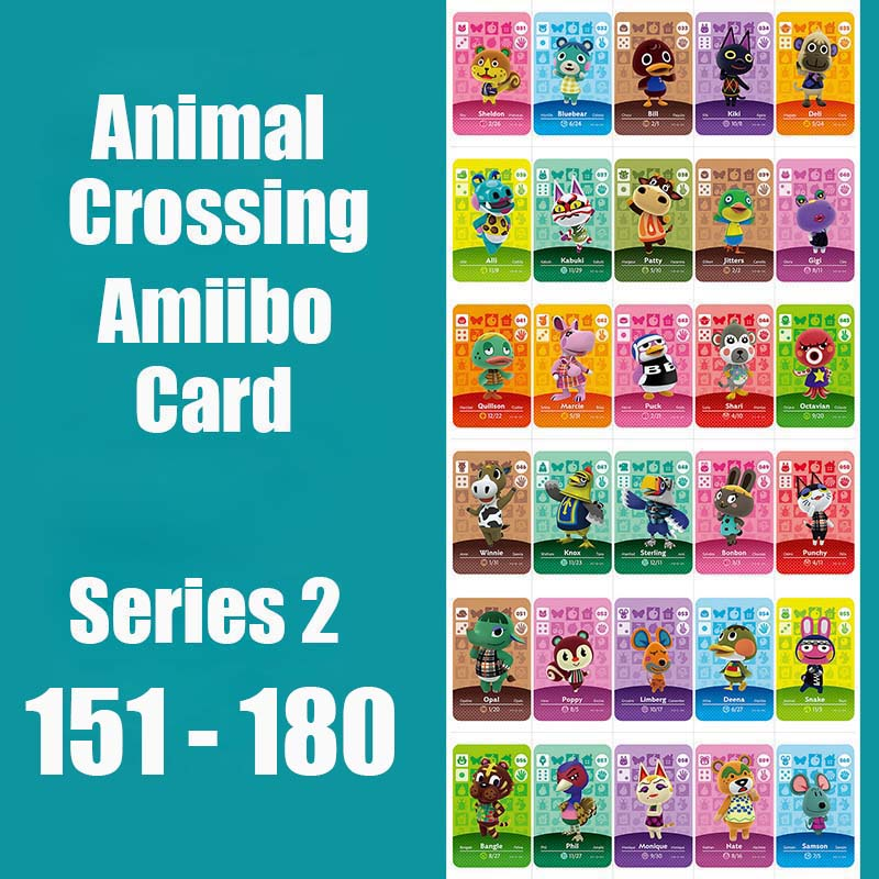 Series 2 #151-180 Animal Crossing <font><b>Cards</b></font> <font><b>Amiibo</b></font> <font><b>Card</b></font> Work for NS 3DS Games Animal <font><b>Cards</b></font> New Leaf Switch image