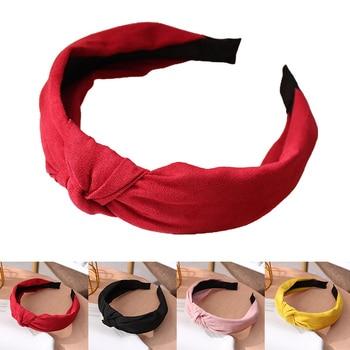 Wide Top Knot Hair Bands For Women Headdress Solid Color Cloth Headband Bezel Girls Hairband Hair Hoop Female Hair Accessories 6