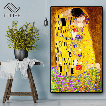 Abstract Artist Gustav Klimt Kiss Classic Oil Painting on Canvas Print Poster Modern Art Wall Pictures for Living Room Cuadros