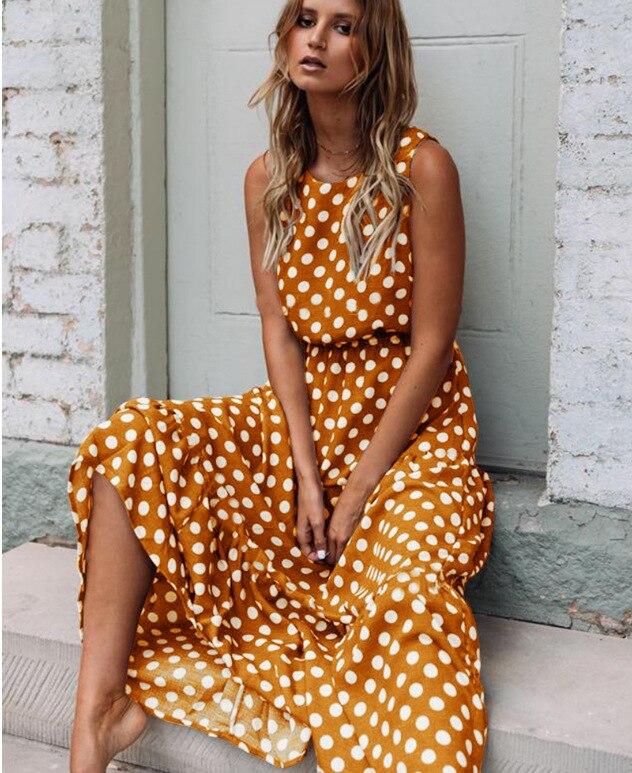 4XL Dot Printing Maxi Summer Plus Size Dress Women Vintage Halter Sleeveless Boho Dress Vadim Beach Dresses Bohemian Robe Longue